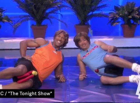 News video: Late-Night Laughs: Dwayne Johnson and Jimmy Fallon Work It Out